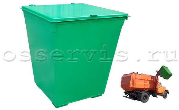 Контейнер для мусора 0,75 м3 металл 2 мм с крышкой