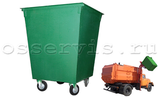 Контейнер для мусора 0,75 м3 металл 2 мм на колесах